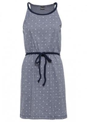 Sukienka shirtowa z nadrukiem bonprix ciemnoniebiesko-biały