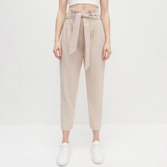 Reserved - Dzianinowe spodnie z wysokim stanem - Beżowy