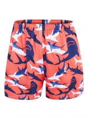 Szorty plażowe męskie pomarańczowe w białe i granatowe rekiny  L
