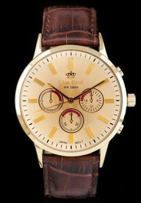 Męski zegarek GINO ROSSI - CLINTON (zg007j) gold/brown