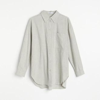 Reserved - Długa koszula z bawełny organicznej - Szary