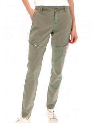 Casualowe spodnie bojówki z suwakami na kieszeniach Red Button 2779.CARGO.KHAKI