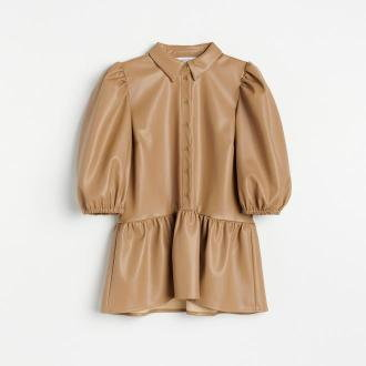 Reserved - Elegancka bluzka z imitacji skóry - Beżowy