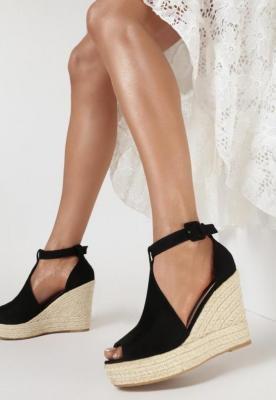 Czarne Sandały Crephia