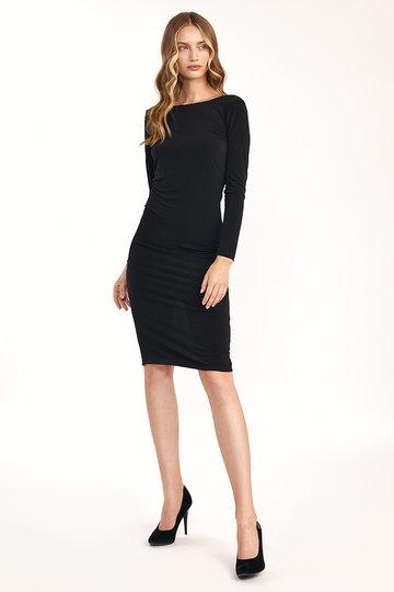 Dopasowana Sukienka z wycięciem na Plecach - Czarna