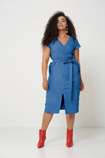 SAVANNAH BLUE ołówkowa sukienka plus size na lato : size - 52/54