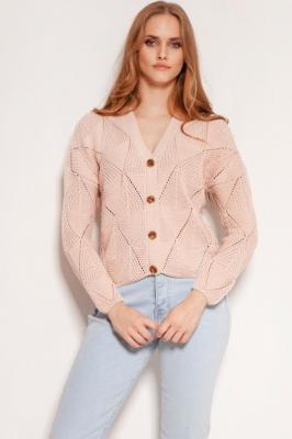 Ażurowy Rozpinany Sweter - Różowy