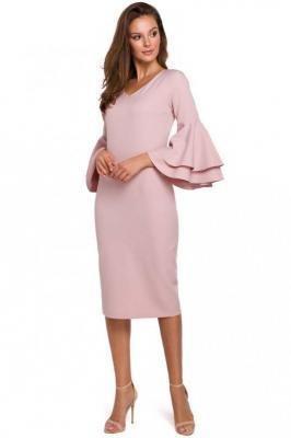 Wizytowo-Koktajlowa Sukienka w Różowym Kolorze