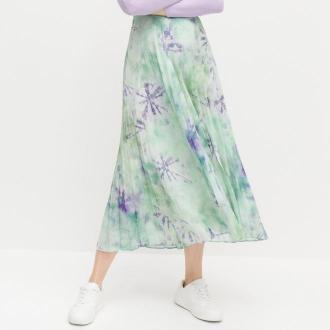 Reserved - Plisowana spódnica ze wzorem - Wielobarwny