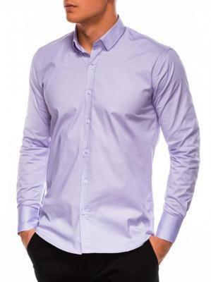 Koszula męska slim z długim rękawem K504 - wrzosowa - S