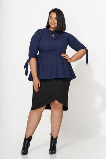 INES NAVY elegancka koszula plus size z baskinką : size - 46