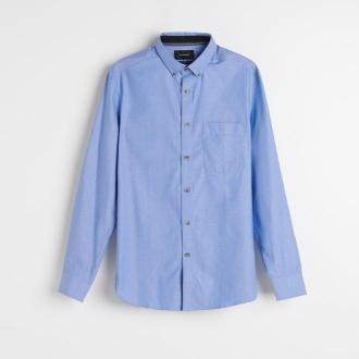 Reserved - Koszula regular fit z bawełny organicznej - Niebieski