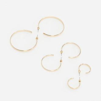 Reserved - Okrągłe kolczyki w kolorze złota - Złoty