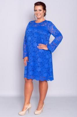 Sukienka koronkowa trapezowa ARIADNA niebieska
