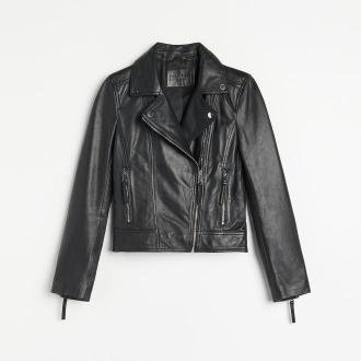 Reserved - Skórzana kurtka typu biker - Czarny