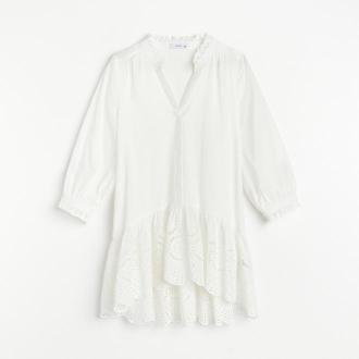Reserved - Bawełniana bluzka z falbaną - Kremowy