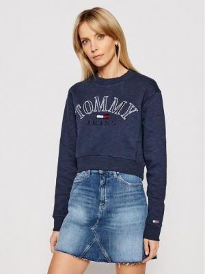 Tommy Jeans Bluza Tjw Crop College Logo DW0DW09792 Granatowy Regular Fit