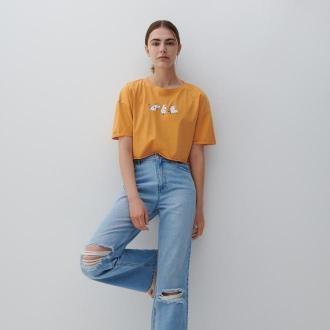 Reserved - Crop top z nadrukiem - Pomarańczowy