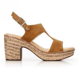 Damskie sandały z nubuku na koturnie