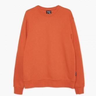Cropp - Gładka bluza - Brązowy