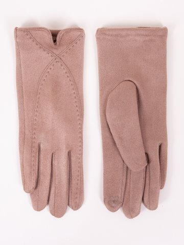 Rękawiczki damskie beżowe zamszowe z przeszyciami dotykowe 24