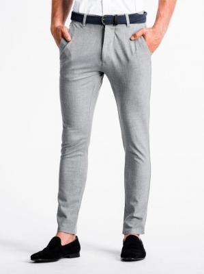 Spodnie męskie chino P832 - jasnoszare - XXL