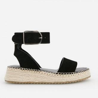 Reserved - Skórzane sandały na platformie - Czarny