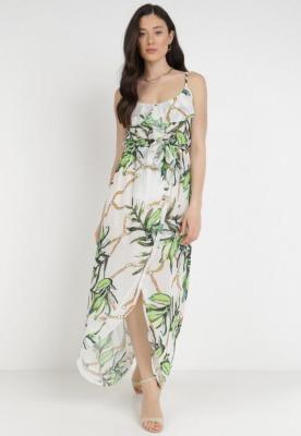 Biało-Zielona Sukienka Thialcia