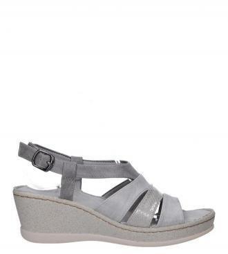 Szare sandały na koturnie