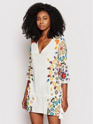 Desigual Sukienka plażowa Maui 21SWMW21 Biały Regular Fit