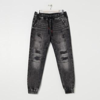 Sinsay - Spodnie jeansowe slim jogger - Szary