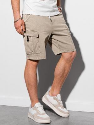 Krótkie spodenki męskie dresowe W292 - jasnobeżowe - XXL