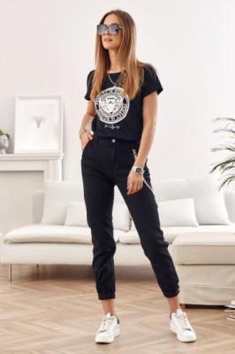 Spodnie jeansowe z łańcuszkiem czarne 7025