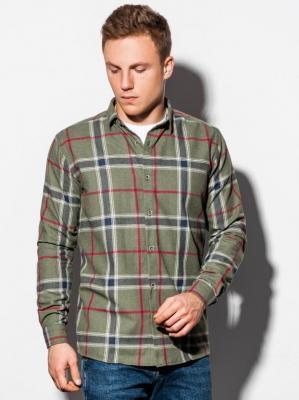 Koszula męska w kratę z długim rękawem K564 - khaki - XXL