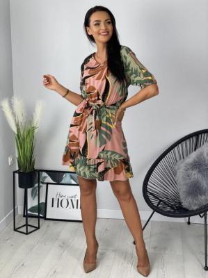 Pudrowa Sukienka w Roślinny Wzór 6276-502-C
