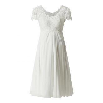 Suknia ślubna ciążowa z koronki szydełkowej i szyfonu