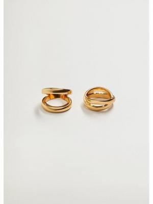 Mango Zestaw 2 pierścionków Percy 87054036 Złoty