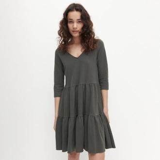 Reserved - Sukienka z falbanami - Khaki