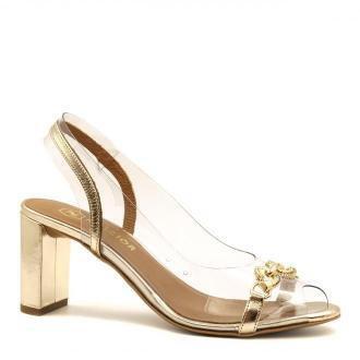 Złote skórzane eleganckie sandały z sylikonu na słupku 72D