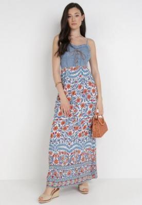 Biało-Niebieska Sukienka Aelaxaura