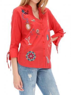 Czerwona bluzka damska z haftem Desigual CAMBRIOLA