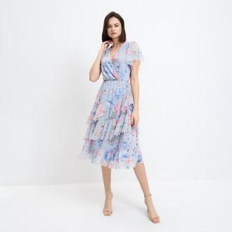 Mohito - Sukienka midi w kwiaty - Niebieski