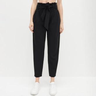 Reserved - Dzianinowe spodnie z wysokim stanem - Czarny