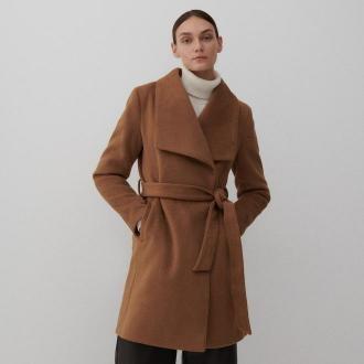Reserved - Dzianinowy płaszcz z kołnierzem - Brązowy