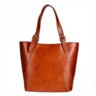 Torebka skórzana shopper xl rudy brąz  genuine leather