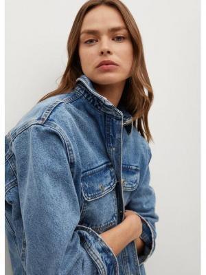 Mango Kurtka jeansowa Maia 87046303 Niebieski Oversize