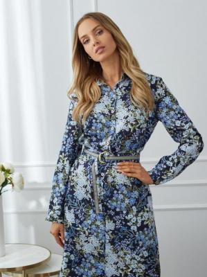 Koszulowa sukienka-szmizjerka w kwiaty Potis & Verso PACO