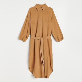 Reserved - Koszulowa sukienka oversize - Beżowy