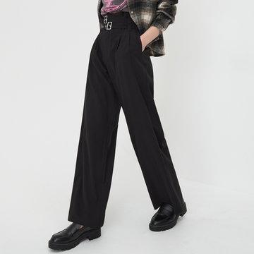 Sinsay - Spodnie wide leg z paskiem - Czarny