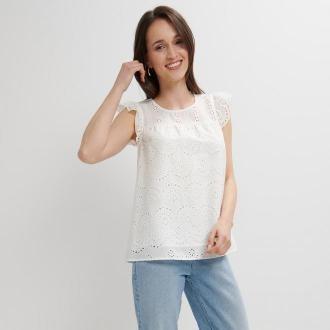 Mohito - Ażurowa bluzka z falbaną - Biały